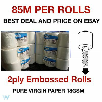 24 rolls (4 PACKS) x Grade 1 White Centrefeed Embossed 2ply Wiper Paper Towel