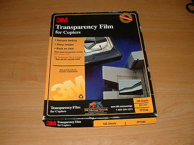 3M Transparency Film PP2500 for Copiers 100 Sheets 8.5 x 11