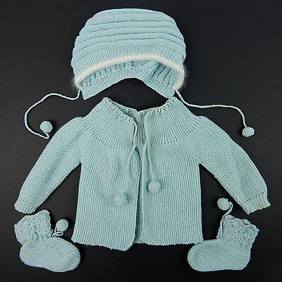 Vintage 1950's Hand Made Blue Baby Sweater Pom-Pom Booties Hat Knit Set