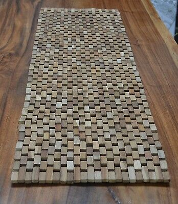 Wooden table runner or bath mat in natural or chocolate.