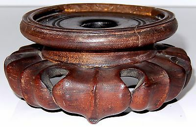 Antique Chinese Hard Wood Stand Display Base Signed Lotus Leaf REPAIRED