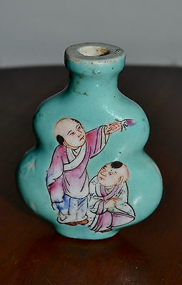Antique Chinese Famille Rose On Turquoise Snuff Bottle Signed