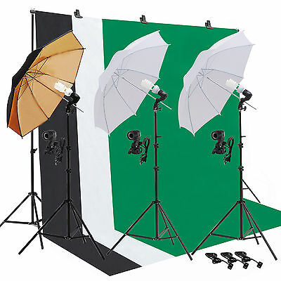 Light Bulb Muslin Backdrop Stand Photo Studio Photography Umbrella Lighting Kit