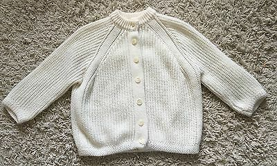 Vintage Girls Ivory 3/4 Sleeve Turbo Orlon Acrylic Cardigan Sweater Size Large