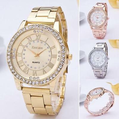 UK Women Watches Luxury Crystal Dial Stainless Steel Analog Quartz Wrist Watch