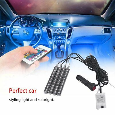 4x LED RGB Car Interior Decorative Atmosphere Strip Light And Remote Control F7
