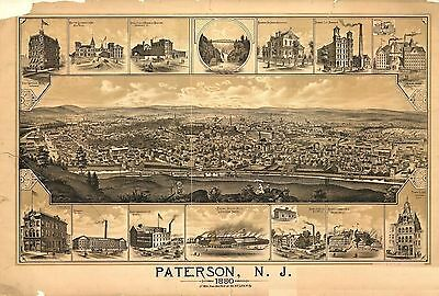 nj34 Antique old map NEW JERSEY NJ genealogy family history PATERSON 1880