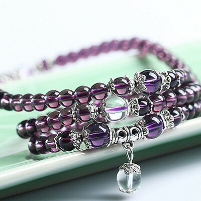 Purple Crystal Stone Buddhist Amethyst 108 Beads Mala Bracelet Necklace Healthy