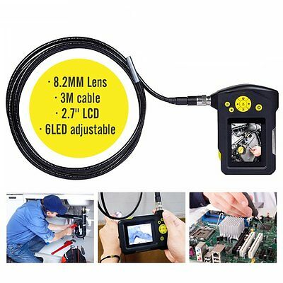 "TESLONG NTS100R 2.7"" LCD Endoscope Borescope 8.2mm 3M Inspection Tube Camera"