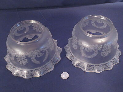 2 Large Etched Victorian Gas Floral Light Fixture Shades Late 1800's #2
