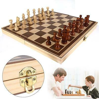 Fashion Wooden Pieces Chess Set Folding Board Box Wood Hand Carved Gift Toy YA