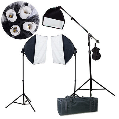 Photo Studio Photography 2700w Softbox Boom Light Stand Continuous Lighting Kit