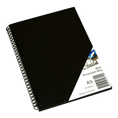 Quill A5 Spiral Visual Arts Diary With Black Paper 90 Page - Black