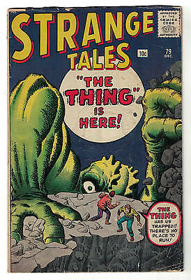 Strange tales  Marvel comics 79 VG 4.0 1960 Atlas The Thing is Here