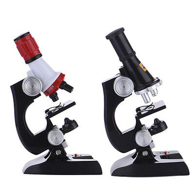 Microscope Kit Science Lab LED 100X-1200X Home School Educational Toy For Kids