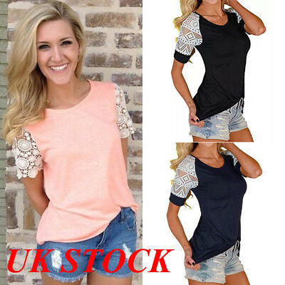 UK New Womens Summer Lace Short Sleeve Blouse T Shirt Ladies Casual Loose Blouse