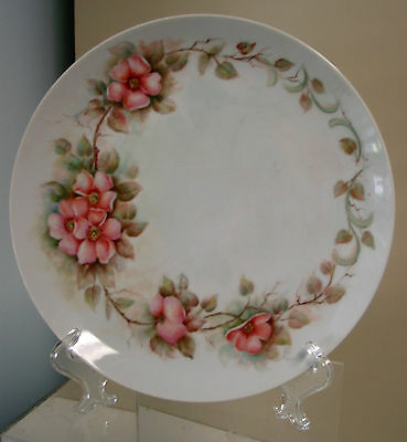 """10 1/2 """" Vintage Hand Painted  Cabinet Plate Victorian Dogwood Artist Signed"""
