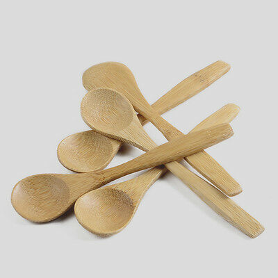 New 5Pcs Wooden Spoon Teaspoon Set For Kitchen Cooking Coffee Tea Condiment