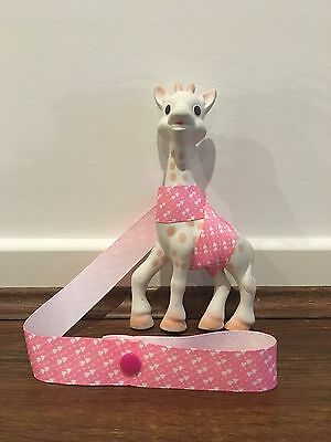 Sophie The Giraffe's Harness Toy/ Drink/ Leash/ strap /saver- Pink hearts