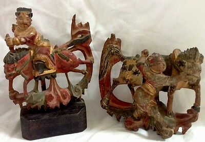 PAIR OF ANTIQUE 19thC WOOD POLYCHROME CHINESE HORSEMEN TEMPLE FIGURES