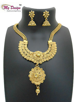 Gold Plated Ethnic Indian Designer Bridal Wedding Jewelry Necklace Earrings Set