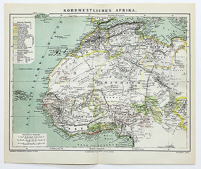1882 Africa Northwest Map Sahara Desert Original German Brockhaus Railroads