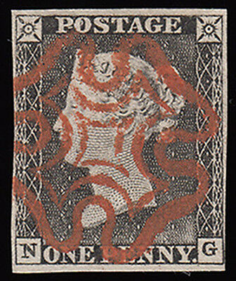 SG3 1840 1d. plate 1a, NG. Nice worn plate & brilliant scarlet mc. 319870