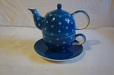 Theodore Maass Tea Pot Stacking Teapot Blue Polka Dots Tea Cup Tea Pot Saucer
