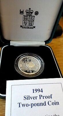 Royal Mint 1994 Silver Proof £2 Two Pound Coin COA 300 Years Bank of England