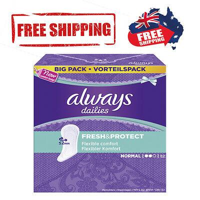 Always Dailies Panty Liners|Size Normal|Female Hygiene|Australia|52 Liners