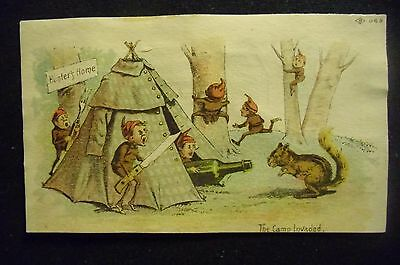 victorian trade card # 3397 - THE CAMP INVADED