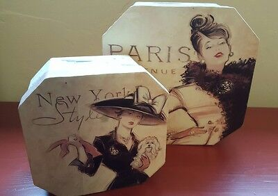 Hat box set Paris New York fasion theme