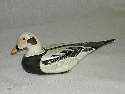 Mini Hand Carved And Painted Duck Figurine Signed By The Artist