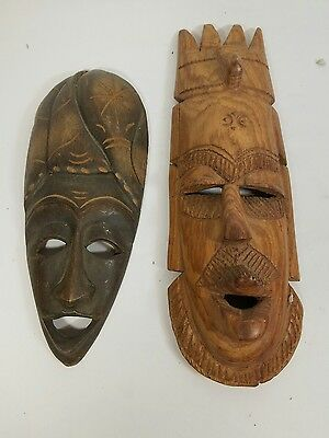 2 Antique Carved Tribal Masks African? Art Wall Decor