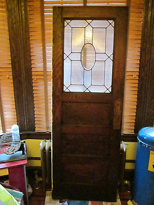 Antique oak wood stained-glass window push door