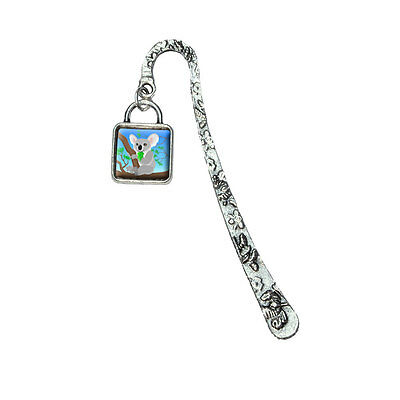 Koala Book Bookmark with Square Antiqued Charm