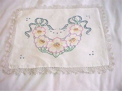 Lovely Antique Vintage Embroidered Linen Pillow Cover with Tatted Trim Flowers