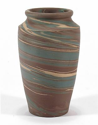 Niloak Pottery Mission ware Arkansas blue brn swirl arts & crafts southern vase