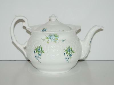 COALPORT Bone China England TINTERN Blue Flowers Roses Embossed TEAPOT Rare Find
