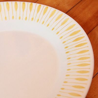 """VTG Mid Century Yellow Abstract Atomic Pattern Platter Chop Plate 12.5"""" - NICE"""