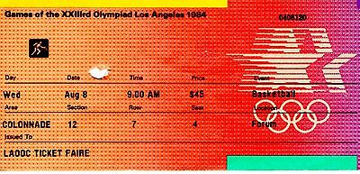 1984 Los Angeles Summer Olympics Basketball Ticket From The Forum