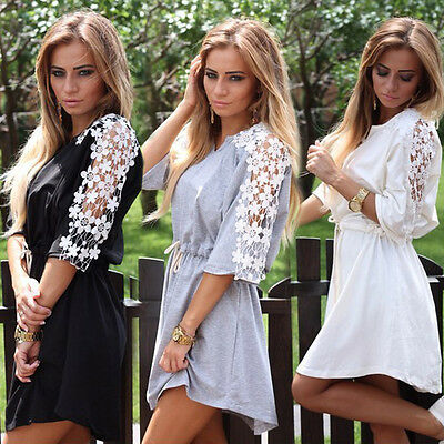Women Summer Casual Party Bodycon Dress Ladies Evening Lace Cocktail Dress 6-14