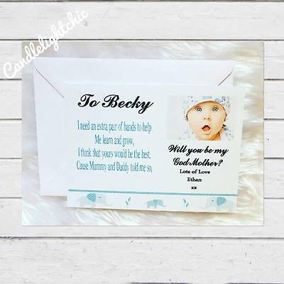 Will you be My Godmother Godfather Godparents Poem Request Card + Envelope