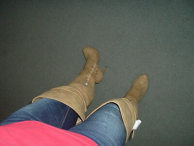 New With Box Luichiny Natural Tan Thigh High Boots Size 8.5