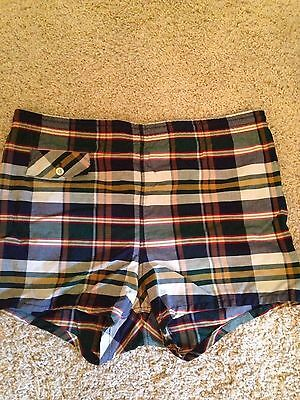 Vintage Plaid Mens Swim Suit
