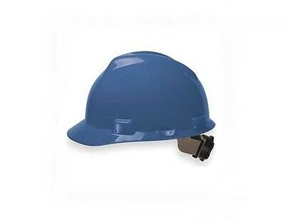 MSA Blue V-Gard Polyethylene Standard Slotted Cap Hard Hat Fas Trac Suspension