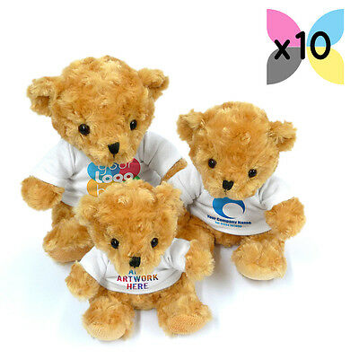 10 Personalised Promotional Soft Toys Victoria Teddy Bears Gifts Ur Logo Printed