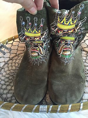 Ed Hardy Ankle Boots Green Suede Leather Women's Sz 4 Bulldog