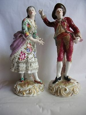 Quality Pair Antique Porcelaine Volkstedt Figurines
