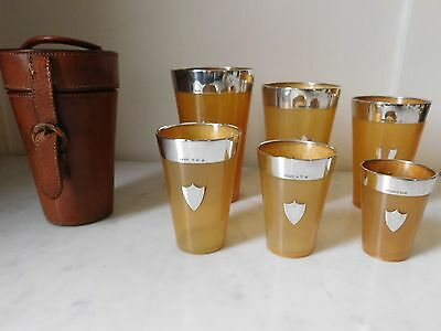"Superb Graduated Set Of 6 Silver & Horn Hunting Beakers ""edinburgh 1910"""